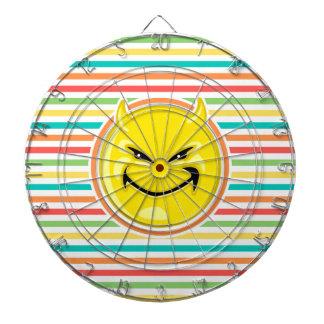 Devil Smiley Face on Bright Rainbow Stripes Dartboard