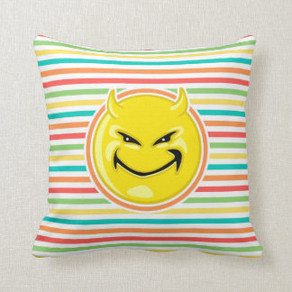 Devil Smiley Face on Bright Rainbow Stripes Throw Pillow