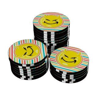 Devil Smiley Face on Bright Rainbow Stripes Set Of Poker Chips