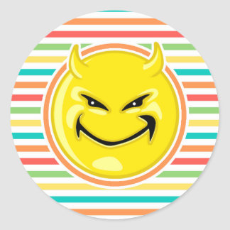 Devil Smiley Face on Bright Rainbow Stripes Classic Round Sticker