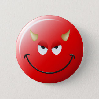 Devil Smiley Face Pinback Button