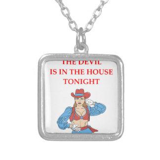 devil square pendant necklace
