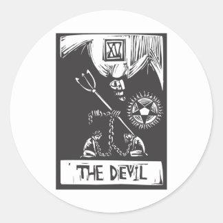 Devil Tarot Card Classic Round Sticker