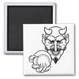 Devil Tennis Sports Mascot Magnet