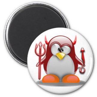 Devil Tux (Linux Tux) 2 Inch Round Magnet