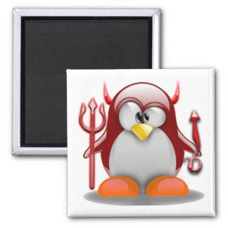 Devil Tux (Linux Tux) 2 Inch Square Magnet