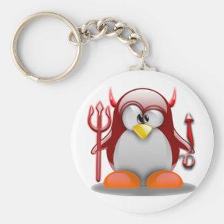 Devil Tux (Linux Tux) Basic Round Button Keychain