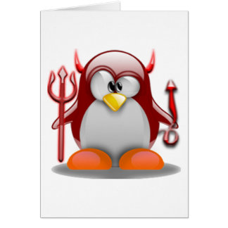 Devil Tux (Linux Tux) Card