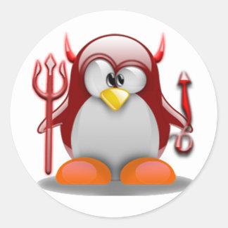 Devil Tux (Linux Tux) Classic Round Sticker