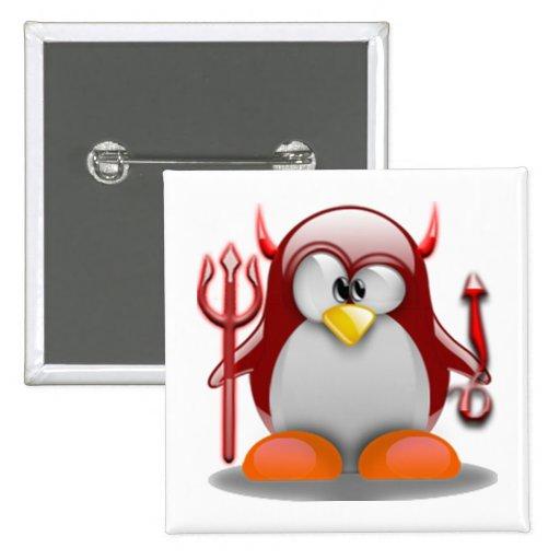 Devil Tux (Linux Tux) Pinback Buttons