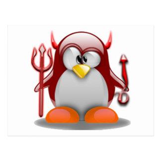 Devil Tux (Linux Tux) Postcard