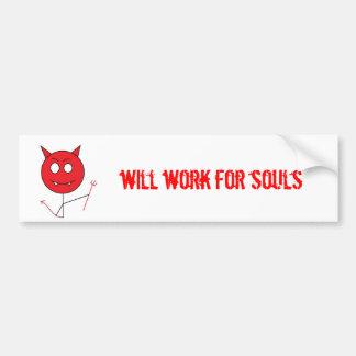 devil, will work for souls car bumper sticker