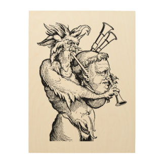 Devil with the Bagpipes Wood Print