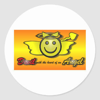 Devil with the heart of an Angel Classic Round Sticker