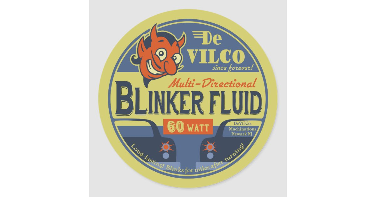 devilco blinker fluid classic round sticker