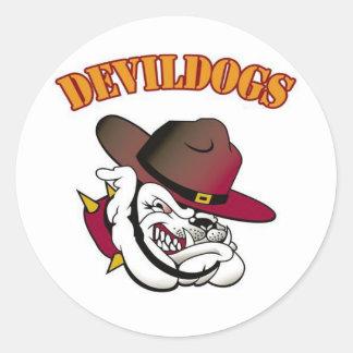Devildogs Football Classic Round Sticker