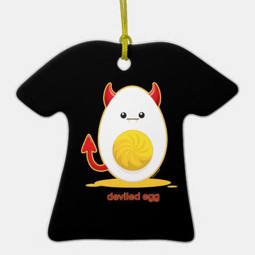 Deviled Egg Double-Sided T-Shirt Ceramic Christmas Ornament