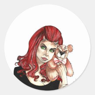 DevilGirl and her Teddy Classic Round Sticker