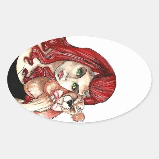 DevilGirl and her Teddy Oval Sticker