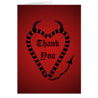 Devilish candy cane heart Christmas thank you Card