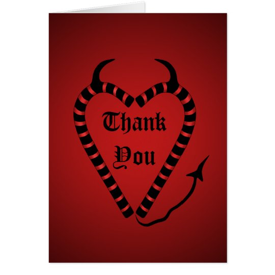 Devilish Candy Cane Heart Christmas Thank You Card  Zazzle