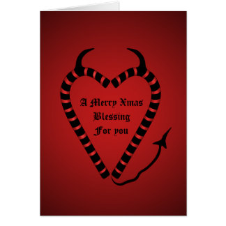 Devilish candy cane heart  funny blessing card