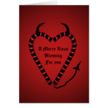 Devilish candy cane heart  funny blessing greeting card
