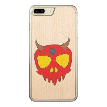 Halloween Themed Devilish Skull Illustration Carved iPhone 7 Plus Case