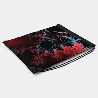 Devil's Dance - red and blue fractal art Drawstring Bag