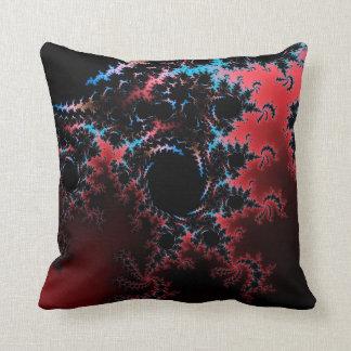 Devil's Dance - red and blue fractal art Throw Pillows