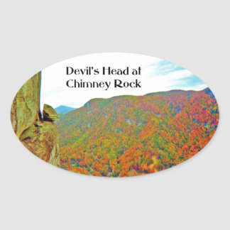 Devil's Head Rock Formation over Chimney Rock Oval Sticker