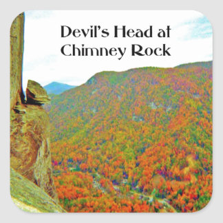 Devil's Head Rock Formation over Chimney Rock Square Sticker