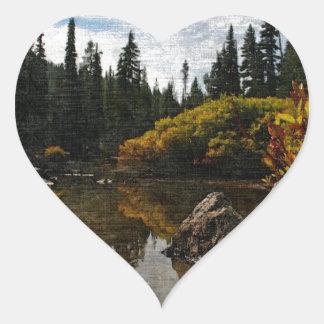 Devils Lake, Oregon Art Heart Sticker