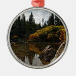 Devils Lake, Oregon Art Round Metal Christmas Ornament