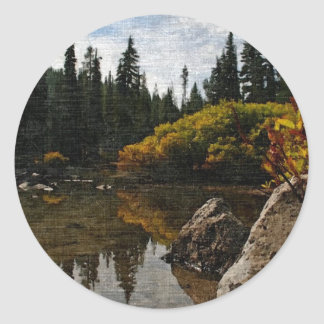 Devils Lake, Oregon Art Round Sticker