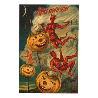 Devils Lighten Up Jack O'Lanterns Wood Print