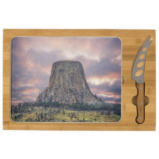 Devils Tower Amazing Clouds Rectangular Cheeseboard