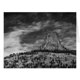 Devils Tower in Wyoming Black and White Card