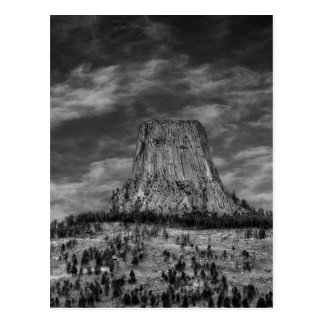 Devils Tower in Wyoming Black and White Postcard