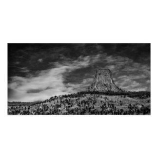 Devils Tower in Wyoming Black and White Poster