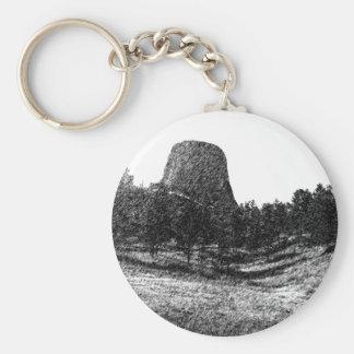 Devils Tower National Monument Basic Round Button Keychain
