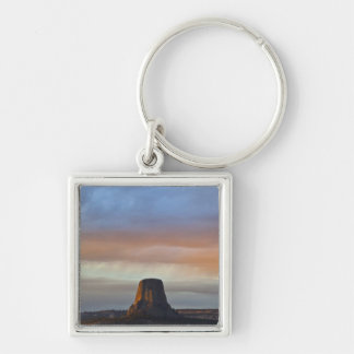 Devils Tower National Monument, Storm at Sunset Keychain