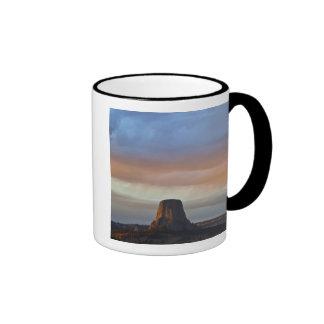 Devils Tower National Monument, Storm at Sunset Ringer Coffee Mug