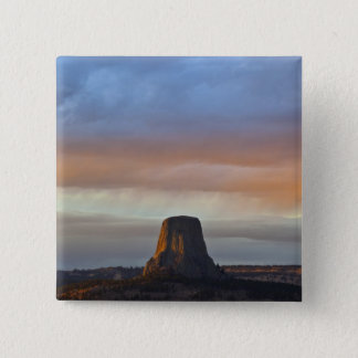Devils Tower National Monument, Storm at Sunset Pinback Button