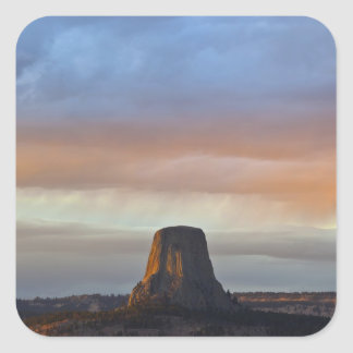 Devils Tower National Monument, Storm at Sunset Square Sticker