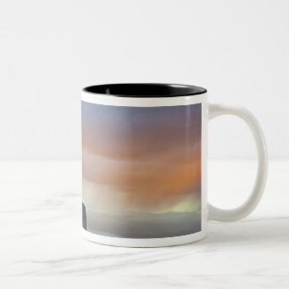 Devils Tower National Monument, Storm at Sunset Two-Tone Coffee Mug