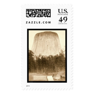 Devil's Tower with Tent in Front WY 1887 Postage Stamp