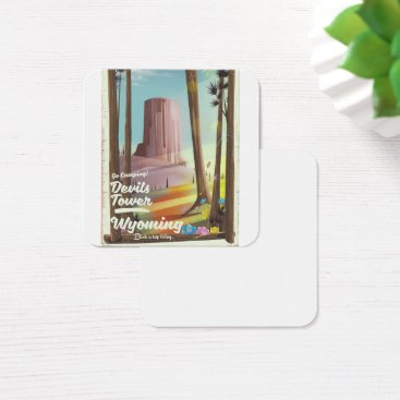 USA Themed Devils Tower, Wyoming vintage Camping print. Square Business Card