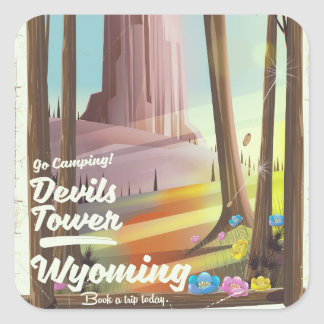 Devils Tower, Wyoming vintage Camping print. Square Sticker