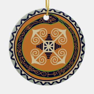 Devine Fire Wheel with Ouroboros Snake VooDoo Ceramic Ornament